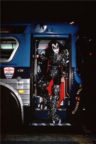 gene simmons getting off bus new york city lookin to the right NEW YORK CITY, 1979