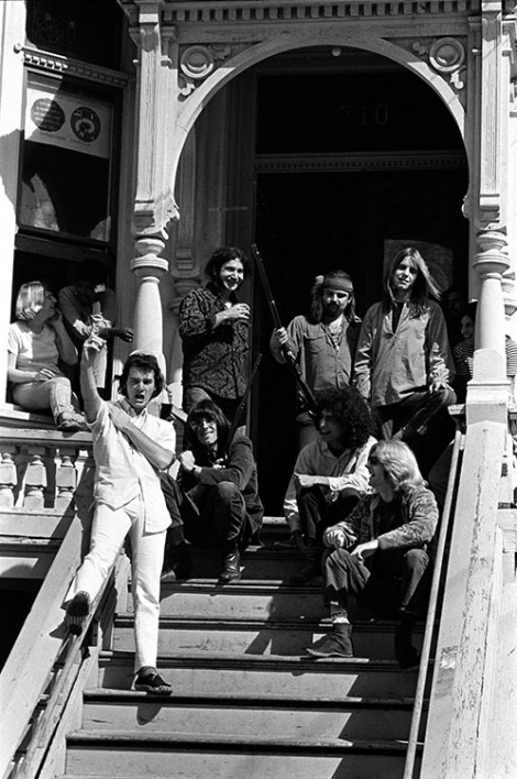 American Rock band the Grateful Dead outside their home at 710 Ashbury Street, San Francisco, CA, October 1967.