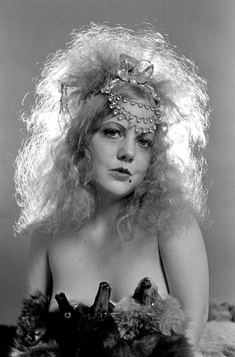 Groupie Harlow wears a 1920s inspired outfit, Belvedere Street Studio, San Francisco, CA, November 1969.