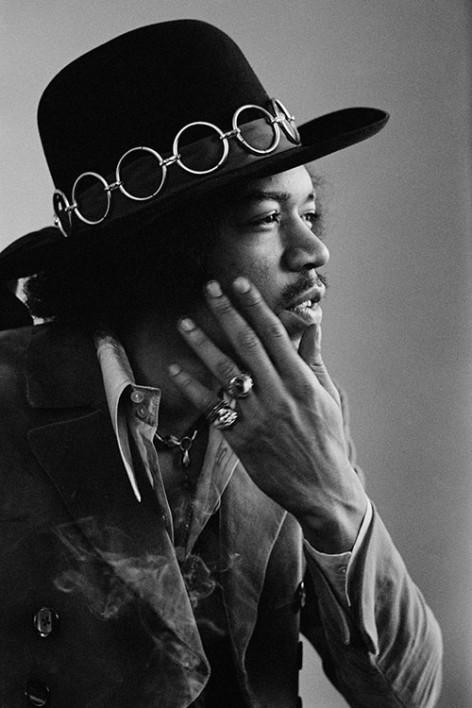 American guitarist and singer Jimi Hendrix, San Francisco, February 1968.