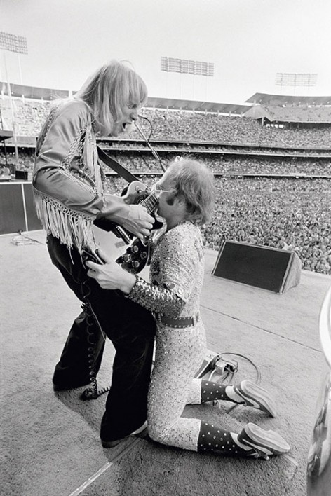 English pop star and pianist Elton John performs at the Dodger Stadium in Los Angeles, October 1975.