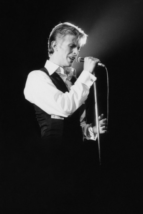 English singer, musician and actor David Bowie in concert during his Isolar tour, The Forum, Inglewood, CA, USA, February 1976.