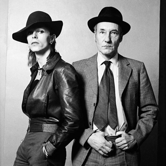 British singer, songwriter and actor David Bowie posing for a photograph with American novelist William Burroughs for an interview published at Rolling Stone magazine in February 28, 1974.