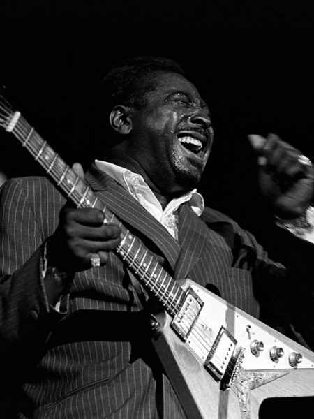 Albert King on stage during the Memphis Blues Festival, June 1969.
