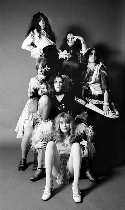 Californian based groupie group called the GTO's pose for a portrait at the A&M Studio in Los Angeles, CA, November 1968. (Miss Pamela, Miss Mercy, Miss Cynderella, Miss Christine, Miss Sparky and Miss Sandra)