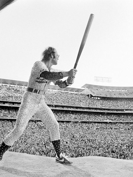 English singer and songwriter Elton John performs at Dodger Stadium in Los Angeles, October 1975.