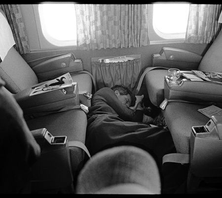 Schiller Kennedy asleep on plane